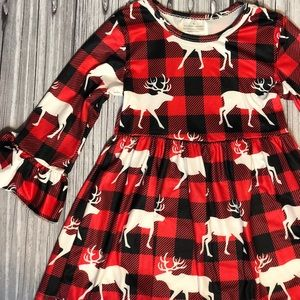 Red and black plaid woodland moose dress